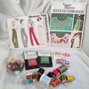 VTG Sewing Bundle! Patterns Buttons Needles Thread